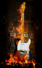 electric guitar in flames