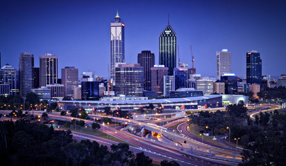 Foto op Canvas Australië Perth Skyline by Night