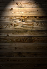 Wooden Wall with cross lighting as background