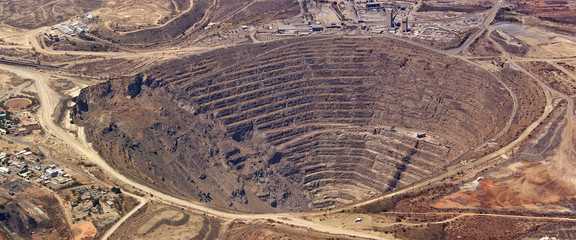 Fotobehang Afrika Aerial view of enormous copper mine at palabora, south africa