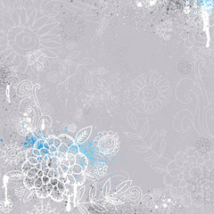 hand draw  flowers on grey background