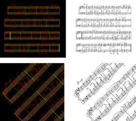 Abstract set of phonocentury the Music book with the notes writt