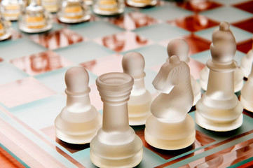 Set of chess figures on the board