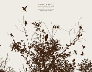 Photo sur Toile Oiseaux sur arbre tree