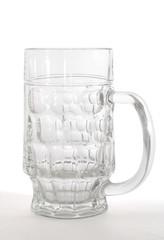 empty beer mug isolated on white.