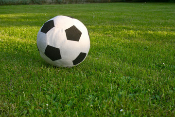 a soft football on the pitch