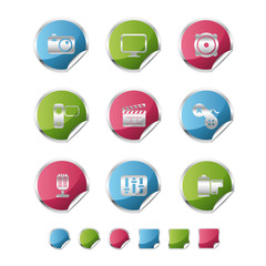 multimedia metallic sticker icons