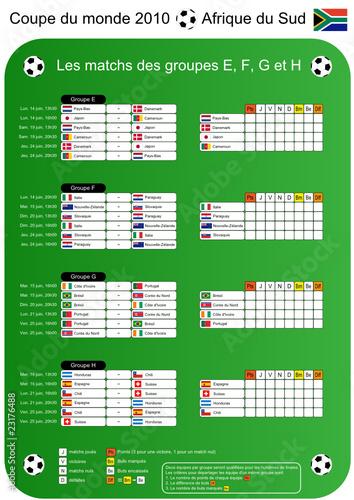 Coupe du monde de foot 2010 tableau des matchs groupes - Resultat foot eliminatoire coupe du monde ...