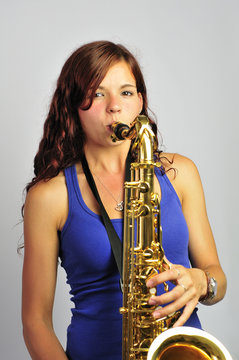 Girl Playing Saxophone, Facing Camera