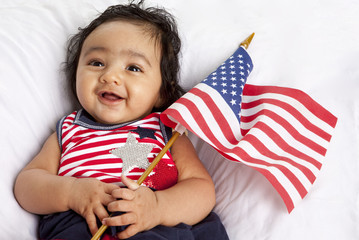 Proud Asian American Baby Celebrating Fourth of July