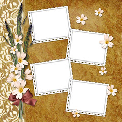Vintage background with frames for photos.