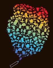 Kids dreams - vector multicolored illustration