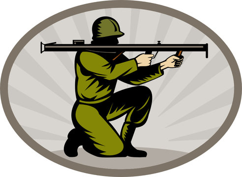 World war two soldier aiming bazooka side
