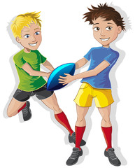 rugby, passe, ballon,