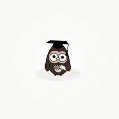 cartoon owl with graduation cap and certificate