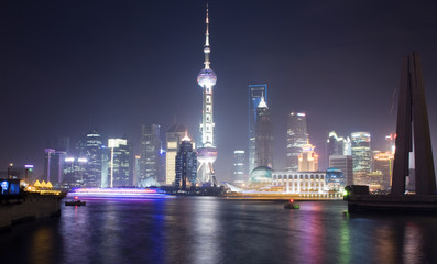 Night View of Shanghai with Pearl Tower