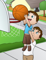 Basketball Family - vector illustration