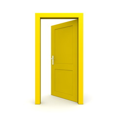 Open Single Yellow Door