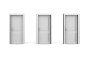 Three Grey Closed Doors