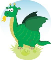 A cartoon dragon on green grass
