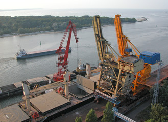 Shipping cranes at the Port of Swinoujscie - Poland.