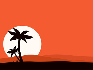 Retro holiday red background with sunset and palms