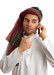 Middle eastern businessman on phone