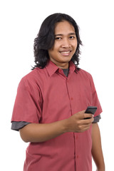 Long Hair Man Using Phone