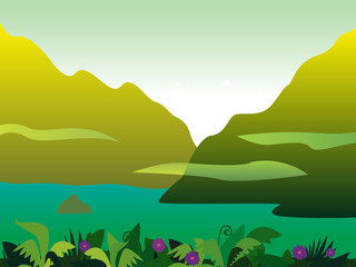 Mountain and jungle landscape background. VECTOR