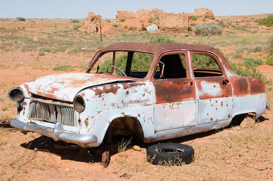 Old wrecked car in Outback Australia