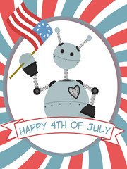 4th of July Robot Waving Flag Banner