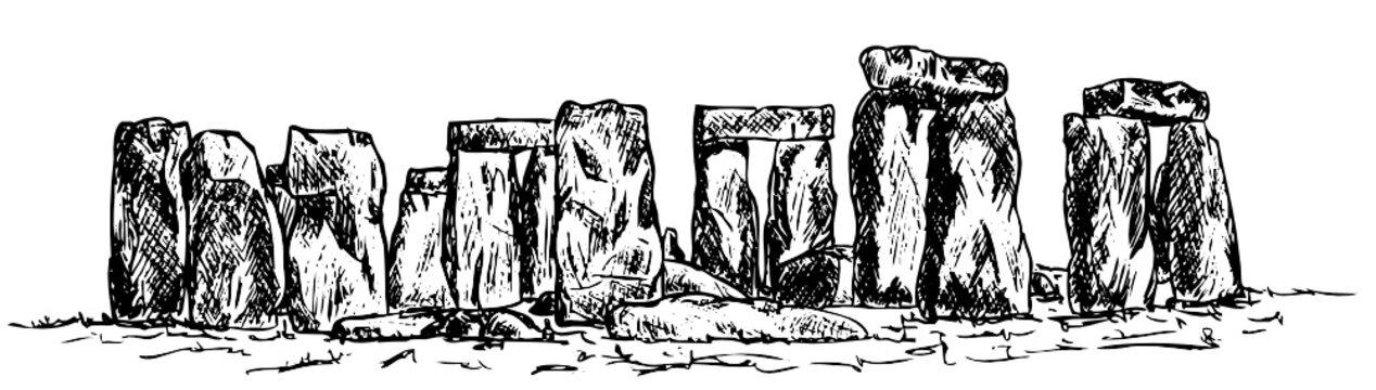 vector - drawing stonehenge isolated on background