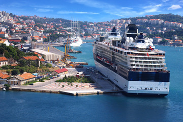 Cruise ship on the background of the Dubrovnik