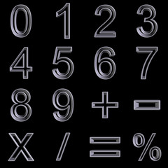metal style numbers set 3d