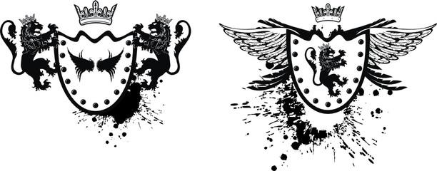heraldic lion crest set
