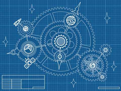 blueprint of space mechanic - with planets, stars, gearwheels