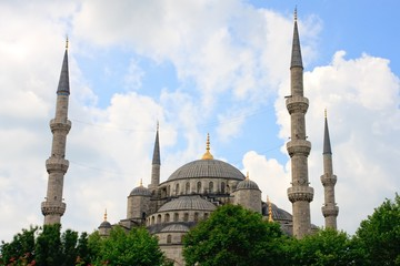 Istanbul Blue Mosque before cloudy sky