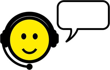 Vector smiley customer support representative illustration