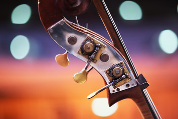 Double bass detail over blurred background. Shallow DOF.