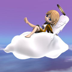 cute cartoon angel with wings and halo. 3D rendering with clippi