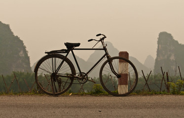 Garden Poster Bicycle Bicycle, hills, Yangshuo, China