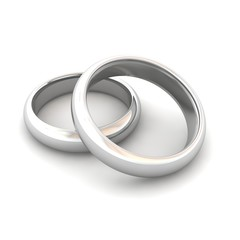 Wedding rings. 3d rendered illustration.