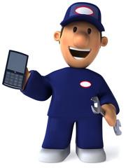 Mécanicien et téléphone