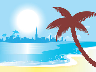 Sunny blue ocean landscape vector illustration