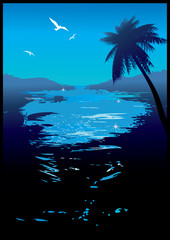 Beautiful night. Sea landscape. Vector art-illustration.