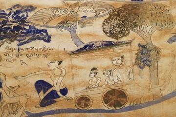 old painting on wall of Wat Ban Yang, Borabue, Mahasarakam
