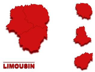 Wall Murals Pixel carte limousin région de france en rouge