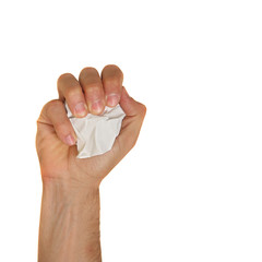 man right fist holds ball of paper