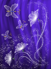 Transparent flowers and butterfly