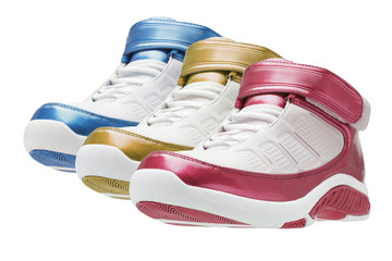Row of colorful basketball trainers